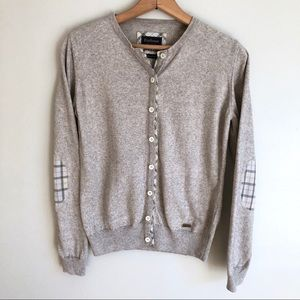 Barbour Gray Cashmere Sweater Plaid Elbow Patches
